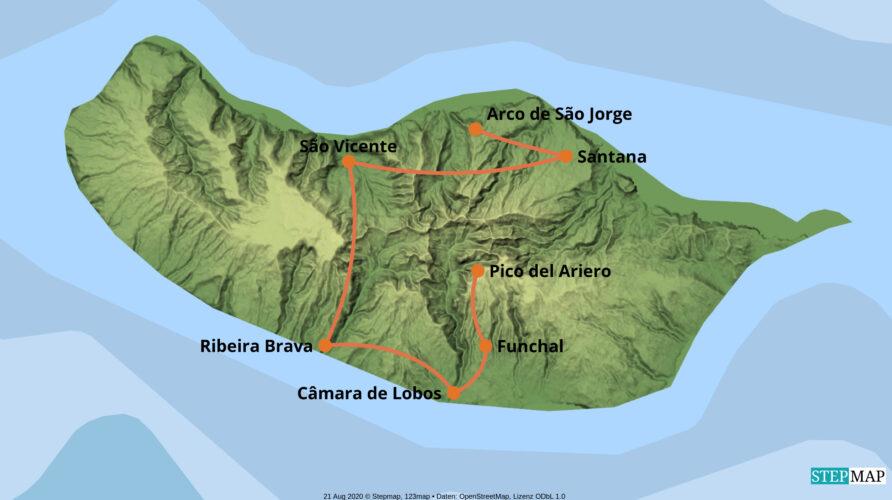 Karte der Reise: Mietwagenreise